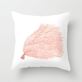 Watercolor Coral Sea fan Throw Pillow