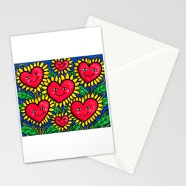 Happy Heart Flowers Sunflowers Stationery Cards