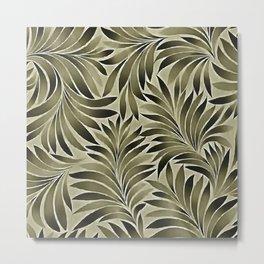 Arty Leaves In Dull Green Grey Khaki Color Metal Print