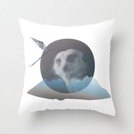Meercat Moutain Throw Pillow