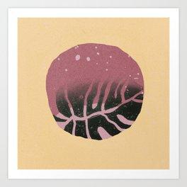 Linocut Leaf (2) Art Print