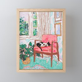 Little Naps - Tuxedo Cat Napping in a Pink Mid-Century Chair by the Window Framed Mini Art Print
