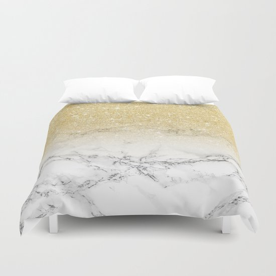 Modern faux gold glitter white marble color block by girlytrend