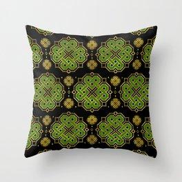 Celtic Endless Knot - Shamrock Four-leaf Clover Throw Pillow