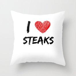 I Love Steaks Throw Pillow