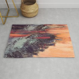 Night and Day: pretty abstract piece in orange, purple, and blues Rug