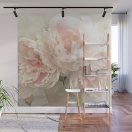Shabby Chic Cottage Pastel Pink Peony Prints and Peony Home Decor Wall Mural