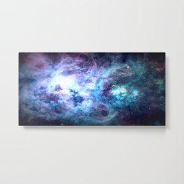Tarantula Nebula Blue Lavender Gold Metal Print
