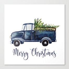 Blue Christmas Truck Canvas Print