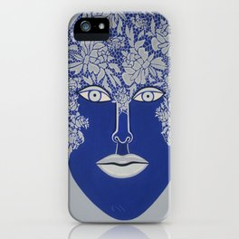 Woman's Visage blue face iPhone Case