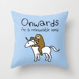 Onwards! At A Reasonable Speed (Sloth Riding Unicorn) Throw Pillow