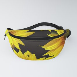 Large Sunflowers on a black background #decor #society6 #buyart Fanny Pack