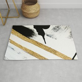 Armor [8]: a minimal abstract piece in black white and gold by Alyssa Hamilton Art Rug