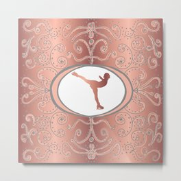 Figure Skating Collection in Delicate Rose Gold Foil Effect and Grey Design Metal Print