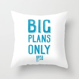 Big plans only - hand lettering quote Blue geek and nerds design Laptop sticke Throw Pillow