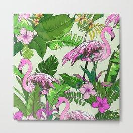Pink Flamingoes and Tropical Flowers Print Metal Print