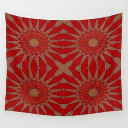 Autumn Red Pinwheel Flowers Wall Tapestry