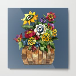 A Basket of Happy Flowers Metal Print