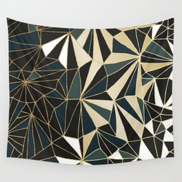 New Art Deco Geometric Pattern - Emerald green and Gold Wall Tapestry
