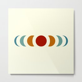 Minimal Abstract Retro Style Moon Phase - Chikano Metal Print