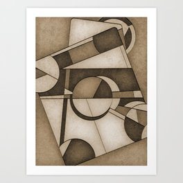 Sepia Mid Century Modern Abstract Composition Art Print