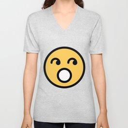 Smiley Face   Rolling Eyes Unisex V-Neck