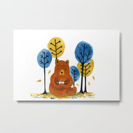 Coffee Bear Metal Print