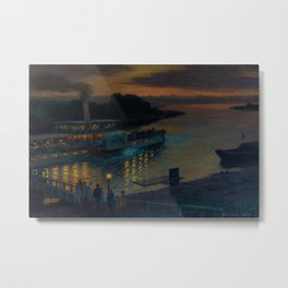 A Nightly River Cruise, Mississippi River by Ernst Max Pietschmann Metal Print