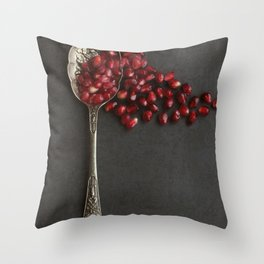 Silver Spoon and Pomegranate Seeds. Throw Pillow