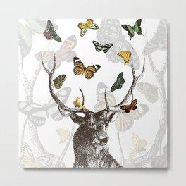 The Stag and Butterflies | Deer and Butterflies | Vintage Stag | Vintage Deer | Antlers | Woodland | Metal Print