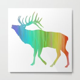 Rainbow Watercolor Dripping Elk II Metal Print