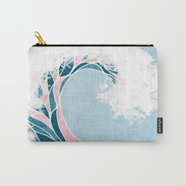 Surf X // Cali Beach Summer Surfing Rip Curl Gold Pink Aqua Abstract Ocean Wave Carry-All Pouch