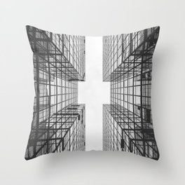 Black and White Skyscraper Throw Pillow