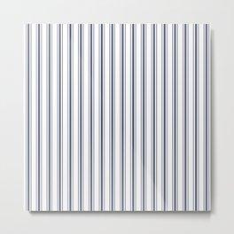 Dark Sargasso Blue Mattress Ticking Wide Striped Pattern - Fall Fashion 2018 Metal Print