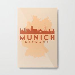 MUNICH GERMANY CITY MAP SKYLINE EARTH TONES Metal Print