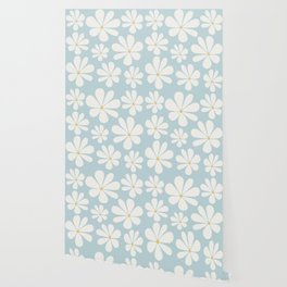 Floral Daisy Pattern - Blue Wallpaper
