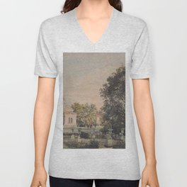The Imperial Palace Livadia In The Crimea 1863 by Rudolf von Alt | Reproduction Unisex V-Neck