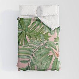 Tropical art,Palmtree,monstera pattern,pink background Comforters