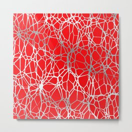 Pattern and Light red silver Metal Print