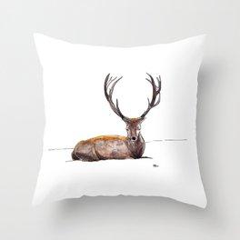Deer in Snow Throw Pillow
