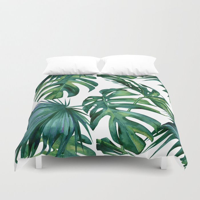 Classic Palm Leaves Tropical Jungle Green Duvet Cover
