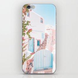 Santorini Greece Mamma Mia Pink House Travel Photography in hd. iPhone Skin