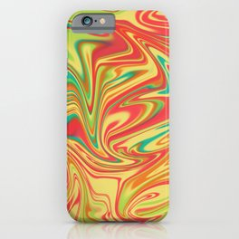 Digital marbling in yellow and orange tones iPhone Case