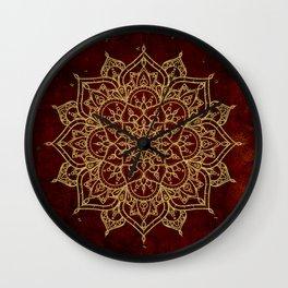 Deep Red & Gold Mandala Wall Clock