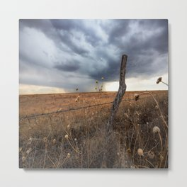 February Rain - Old Fence Post and Storm on Winter Day in Oklahoma Metal Print