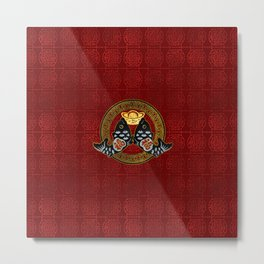 Good Fortune Symbol with Koi Fish and coin Metal Print