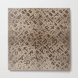Elder Runes - Futhark Pattern Gold framed on Wood Metal Print