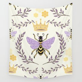 Queen Bee - Lavander Purple and Yellow Wall Tapestry