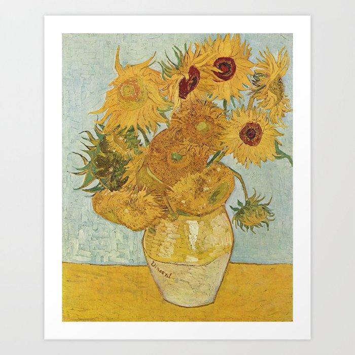 Vase with Twelve Sunflowers, Van Gogh Kunstdrucke