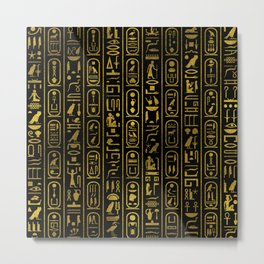 Egyptian Ancient Gold hieroglyphs on black Metal Print